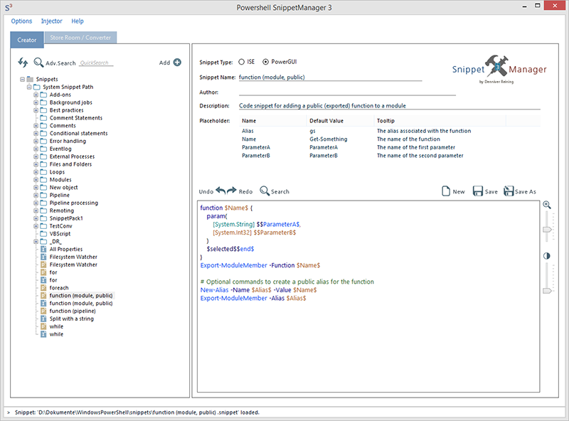 Powershell Snippet Manager and Injector Screen shot